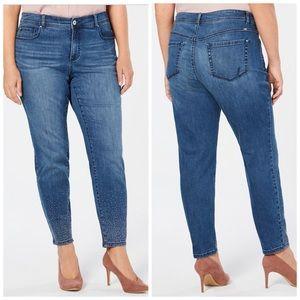 INC Silver Studded Skinny Jeans Plus Size 28W